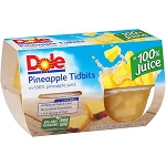 Dole Pineapple Tidbits in 100% Pineapple Juice, 4 oz, 4 ct