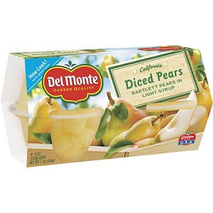 Del Monte Diced Pears In Light Syrup, 4pk